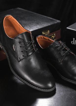 Мужские туфли кожаные весна/осень черные yuves м5 (trade mark)
