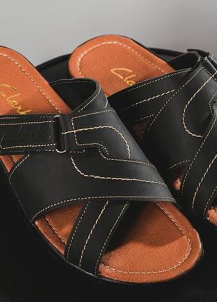 Мужские шлепанцы кожаные летние синие yuves f22 п