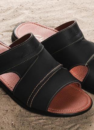 Мужские шлепанцы кожаные летние черные yuves 99