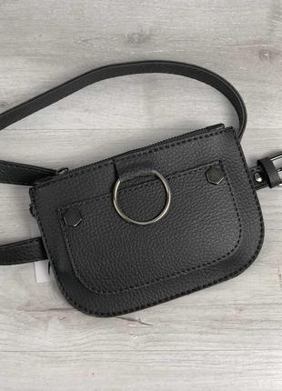 Женская сумка на пояс серого цвета, поясная сумка