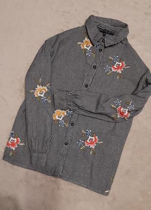Блузка рубашка с вышивкой,объёмный рукав размер 10-12 topshop ...