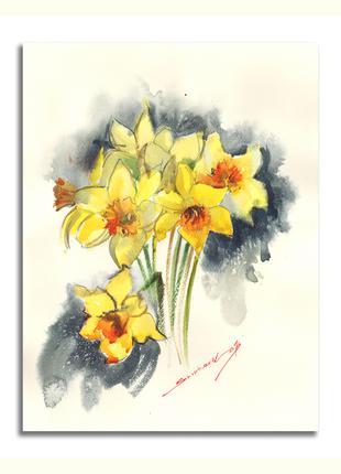 Живопись Цветы Нарциссы. Желтые цветы. Картина в гостиную комнату