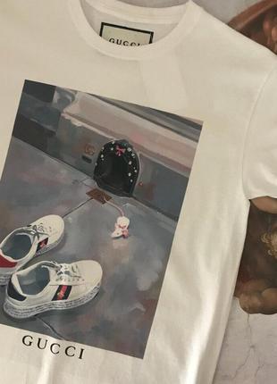 Футболка gucci• топ футболка гуччи• ориг бирки• футболка белая