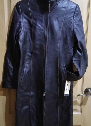 Натуральный кожаный плащ пальто весна/осень