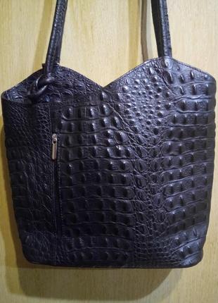 Шикарная черная сумка 100 % кожа