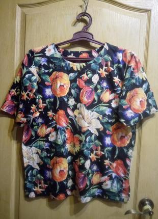 Большой размер футболка в цветочный принт 100 % хлопок