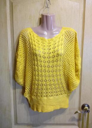 Яркий кружевной свитер кофта