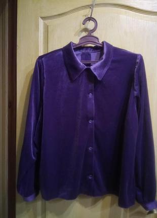 Велюровая рубашка блуза большой размер