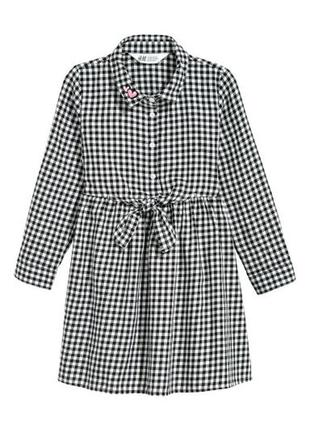 Платье в клетку с карманами 4-5 лет
