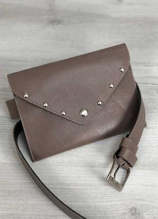 Женская сумка на пояс кофейного цвета, поясная сумка клатч