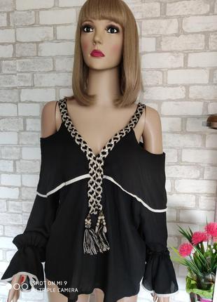 Шикарная блуза открытые плечи. шифоновая блуза