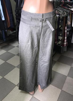Широкие шерстяные брюки с отворотами /брюки палаццо