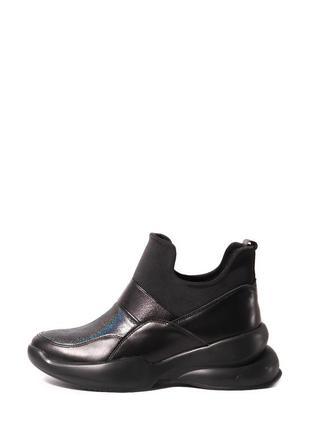 Кожаные женские черные высокие кроссовки без шнурков с блестящ...