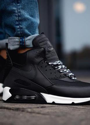 Мужские кроссовки nike air max 90 sneakerboot black white