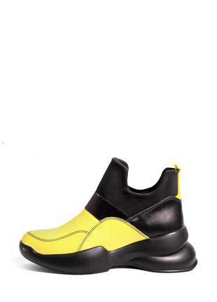 Кожаные женские желтые высокие кроссовки ботинки без шнурков н...