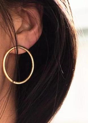 Стильные серьги кольца круглые гвоздики золотые золотистые куп...