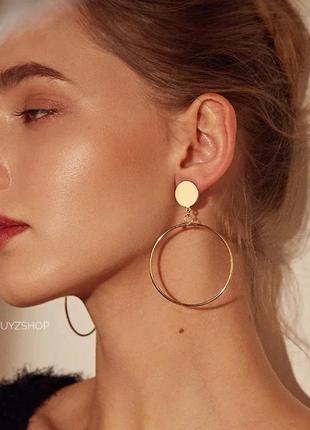 Трендовые стильные серьги сережки кольца круглые zara купить к...