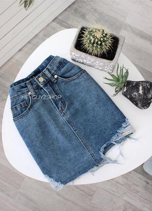 Джинсовая юбка с потертостями рваными дырками в стиле ретро 90...