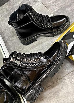 🔥качественные натуральные кожаные лаковые ботинки женские деми...