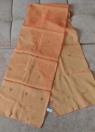 Шифоновый лёгкий шарф oriflame кораллового абрикосового цвета