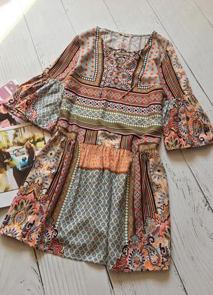Яркое  платье в стиле бохо с вискозы tu