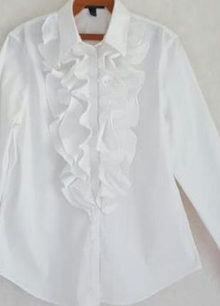Белая рубашка с рюшами ralph lauren