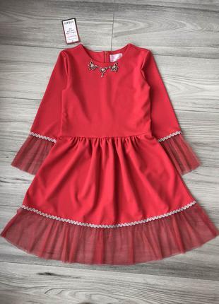 Стильное нарядное платье на рост 116-152см алый