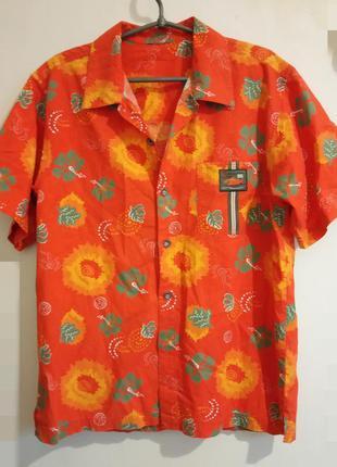 Летняя, яркая, х.б.рубашка с коротким рукавом
