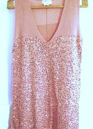 Нарядное платье-туника пастельно-розового цвета с паетками