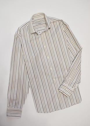Мужская рубашка длинный рукав в полоску, коттон