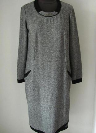 Платье зимнее трикотажное на каждый день красивое с карманами....