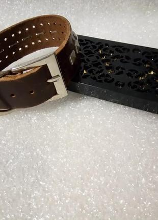 Крутой, брутальный браслет с заклёпками.*кожа,металл.