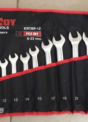Набор рожково-накидных ключей 12 шт/ 6-22mm/ чехол KRTRP-12