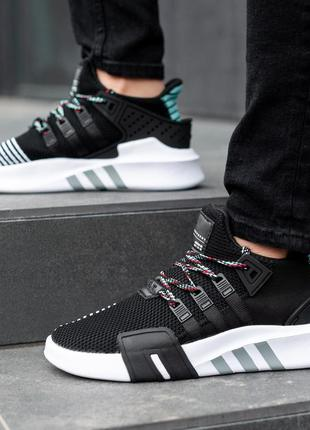 Adidas eqt black white, мужские кроссовки адидас для бега /бег...