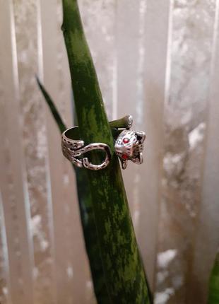Кольцо кот серебрение безразмерное котенок кошка перстень