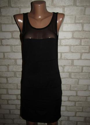 Черное платье р-р s-m спинка сетка стрейч