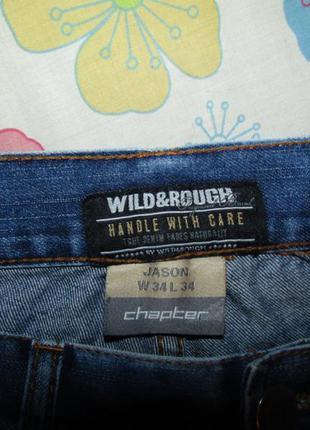 Мужские джинсы рванки р-р w 34 l 34 бренд wild&rough
