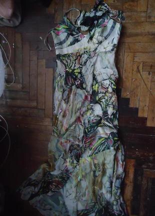 Длинное вечернее шелковое платье с бисером