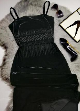 Вечернее платье черное бархатное в под длинное с разрезом hennes