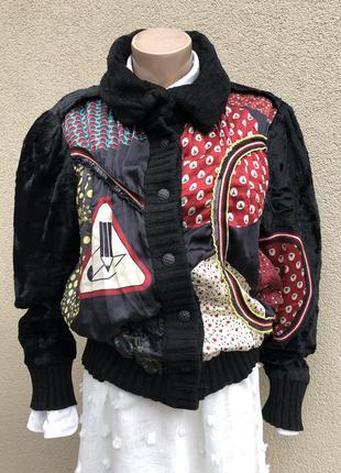 Винтаж,эксклюзив,кардиган мех,шёлк,кофта,куртка,бомбер
