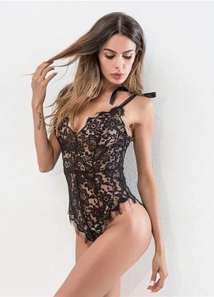 Очень красивое кружевное черное боди, женское белье
