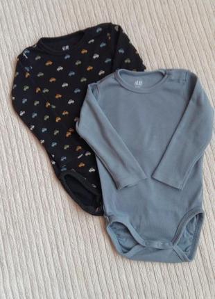 Комплект бодиков с длинным рукавом h&m на 6-9 месяцев
