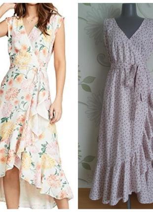 Платье платье-халат на запах в цветочек с воланами длинное мак...
