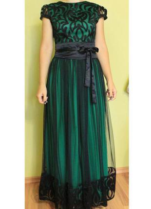 Скидка❗36 s вечернее платье изумрудное с черным фатином турция