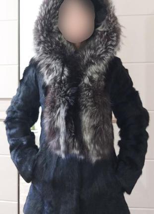 36/s теплая зимняя натуральная шуба с большим капюшоном мех че...