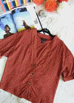 Трендовая теракотовая блуза в горох от new look 12/m/l