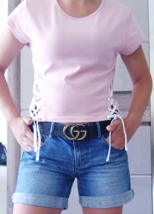 Пастельная розовая  футболка с шнуровкой от бренда  fb sister ...