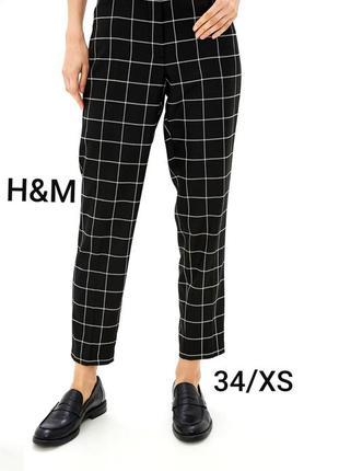 H&m xs/34 хлопковые черные женские брюки в клетку