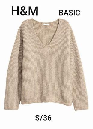 H&m basic s/36 серо- бежевый свитер джемпер с v- образным вырезом