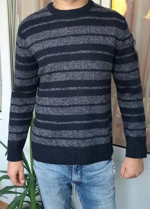 Biaggini xl мужской шерстяной синий свитер в полоску